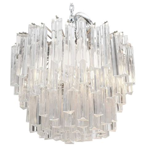glass chandelier prisms venini chandelier with staggered glass prisms at 1stdibs