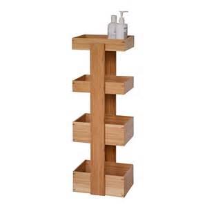 rangement suspendu pour salle de bain caddy bambou