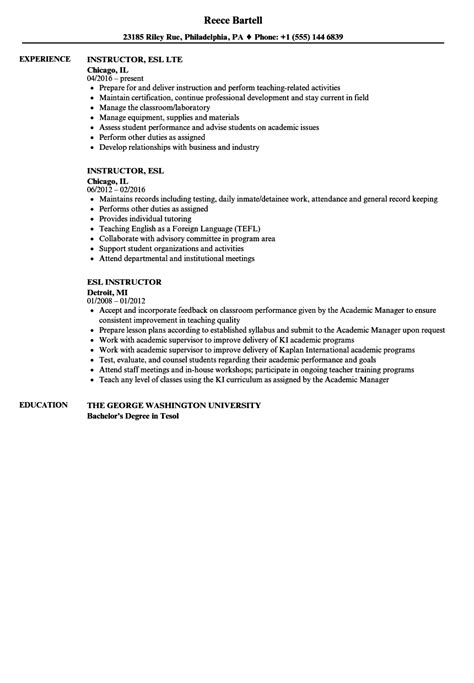 Esl Resume by Tefl Resume Sle Sanitizeuv Sle Resume And