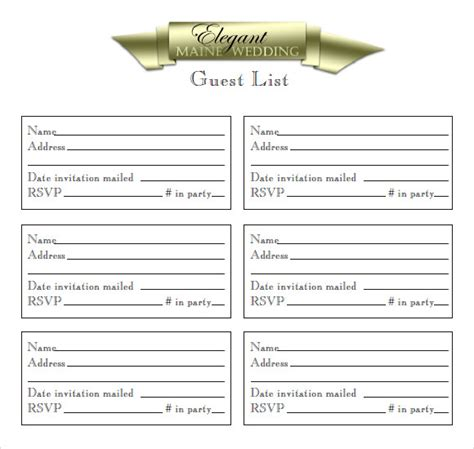 bridal shower guest list template sle guest list 8 documents in pdf word excel