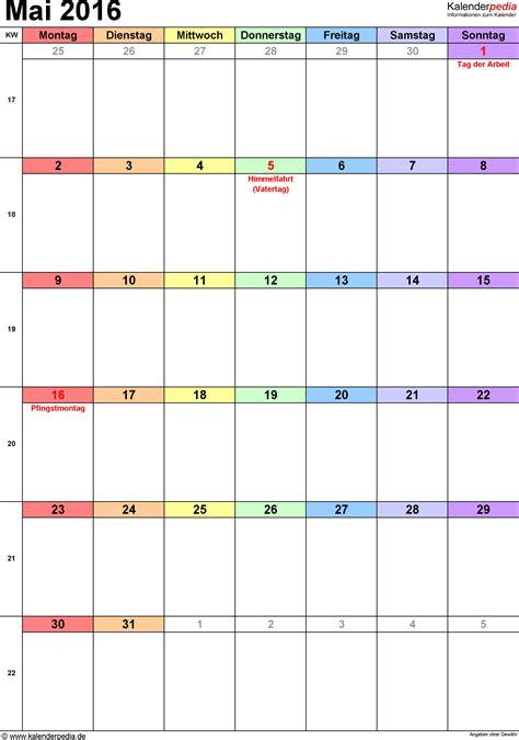 Tabellen Vorlagen Muster Kalender Mai 2016 Als Excel Vorlagen