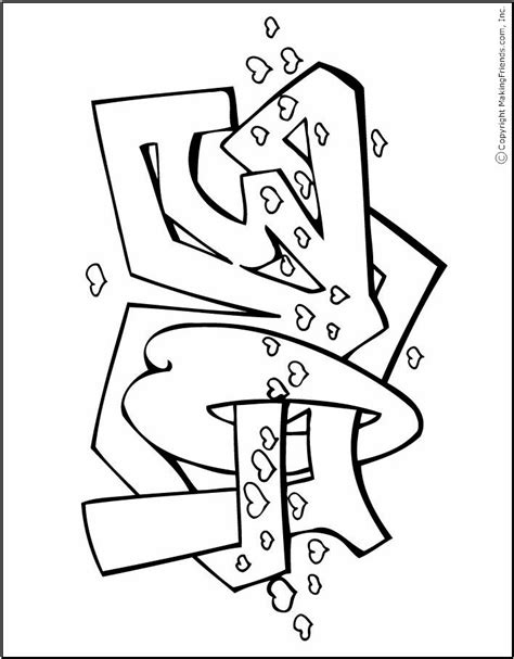 cute graffiti coloring pages making love colouring pages