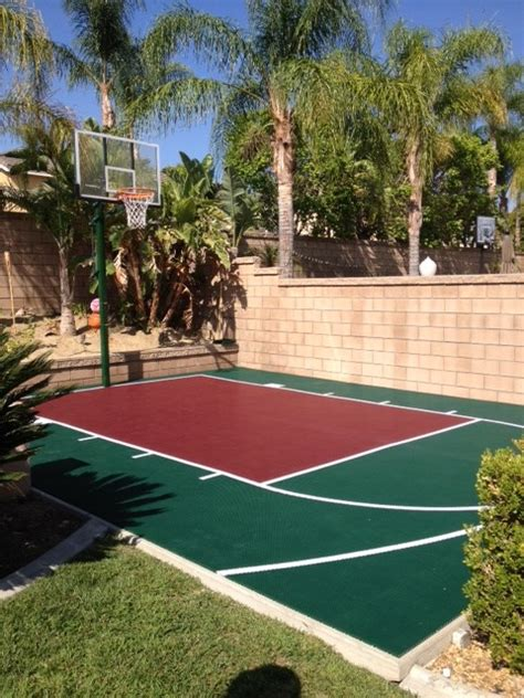 backyard pool and basketball court snapsports small backyard basketball court landscape