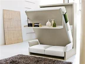 Bed Into Sofa Storage Wall With Pull Down Double Bed
