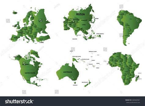 all the world is green set 6 continents countries color green stock vector