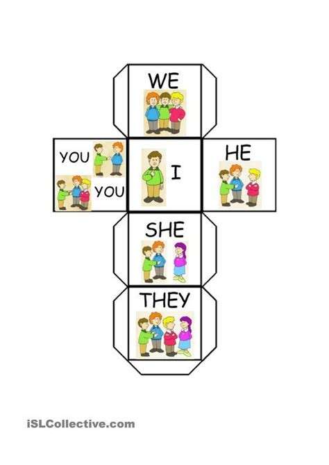 printable games for one person subject pronouns dice inglese pinterest english