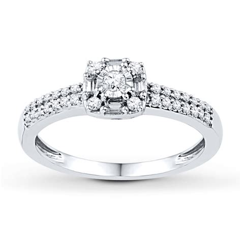 jared promise ring 1 4 ct tw baguette 10k