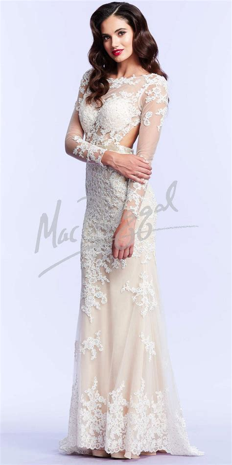 by my michelle lace long gown for prom lace long sleeve prom dresses by mac duggal