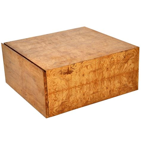 Wood Coffee Tables With Storage Milo Baughman Burl Wood Coffee Table With Storage At 1stdibs