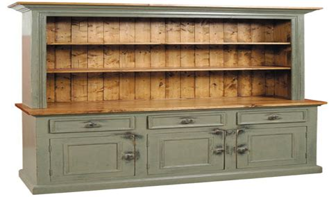 Olive Green Kitchen Island With White Cabinets Antique Vintage Buffet And Hutch
