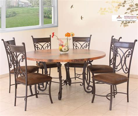 modern dining room sets 7 pieces 187 gallery dining artisan home valencia 7 piece copper top dining room set