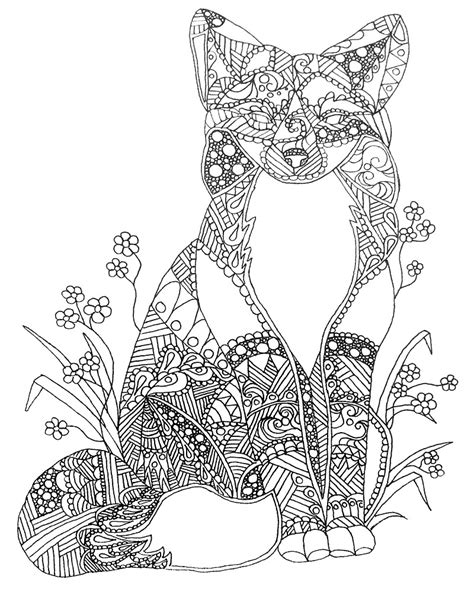 coloring pages adults foxes quot colorable fox abstract animal art adult coloring quot by