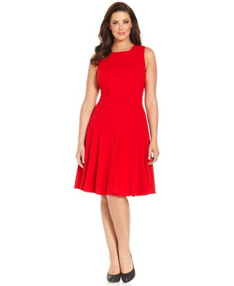 pleated a line dress calvin klein plus size pleated a line dress in lyst