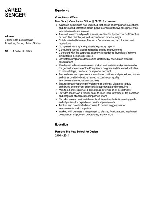 compliance officer resume military bralicious co