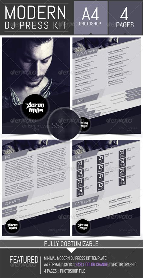 dj and musician press kit resume template by dogmadesign