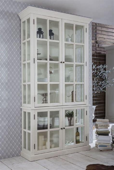 schrank vitrine vitrinenschrank vitrine wei 223 landhausstil shabby chic