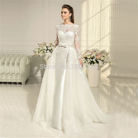 Gaun Pengantin High Quality high quality lace winter detachable skirt wedding dress