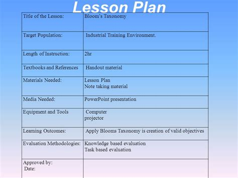 lesson plan template bloom taxonomy designing a new taxonomy of educational objectives experts