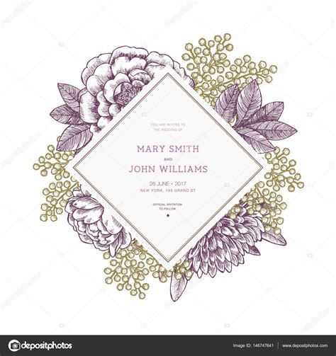 invitation illustrator template floral wedding invitation template vintage flower