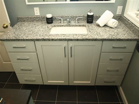 semi custom vanity white shaker doors with granite top