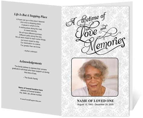template for funeral program free beautiful funeral programs and order of service templates