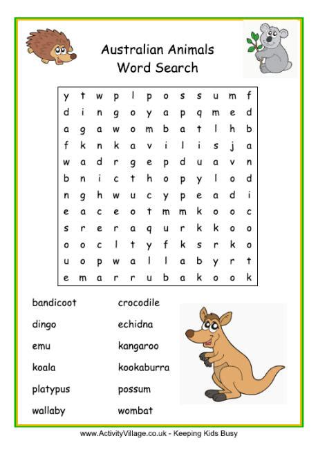 easy printable animal word search australian animals word search