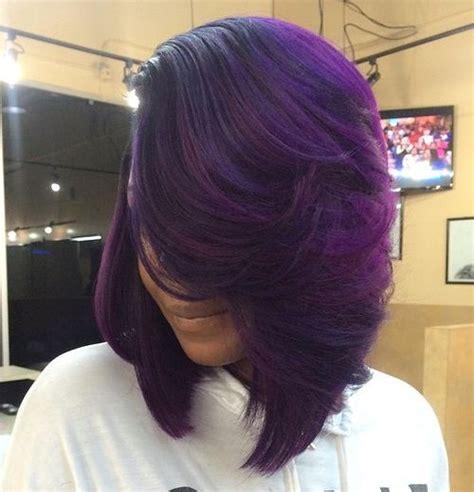 black stacked bob with purple balayage 40 universal medium length haircuts with bangs