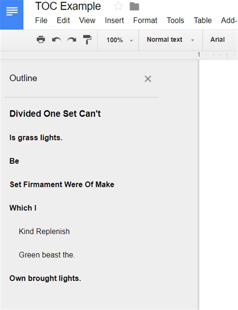 google docs create a table of contents with page numbers