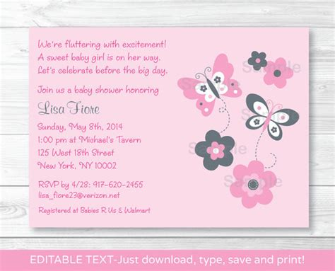 editable baby shower invitation templates pink gray butterfly flowers printable baby shower