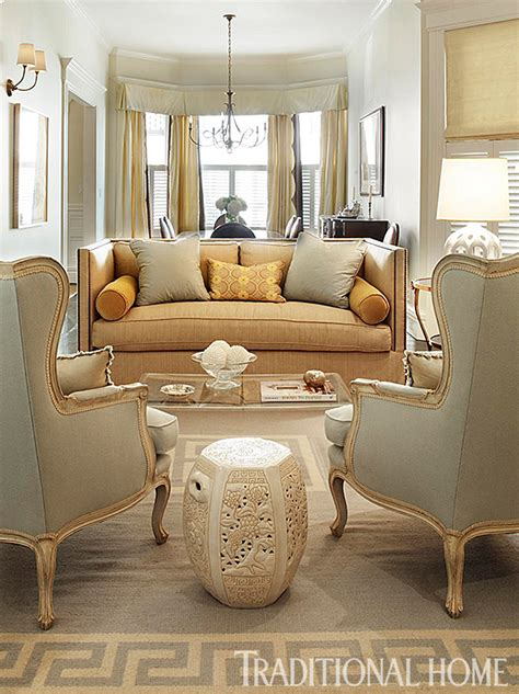 classy sofa with yellow corner chairs in traditional look 25 years of beautiful living rooms traditional home