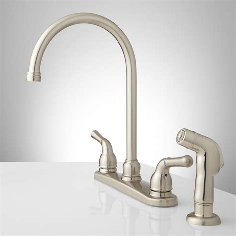 gooseneck faucet kitchen sanibel lever handle gooseneck kitchen faucet with spray