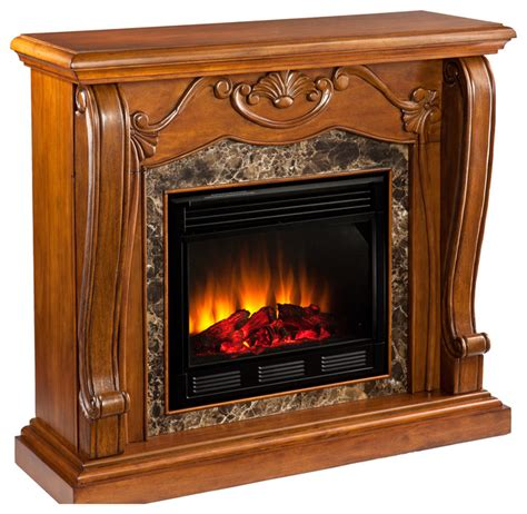 fireplace walnut electric indoor