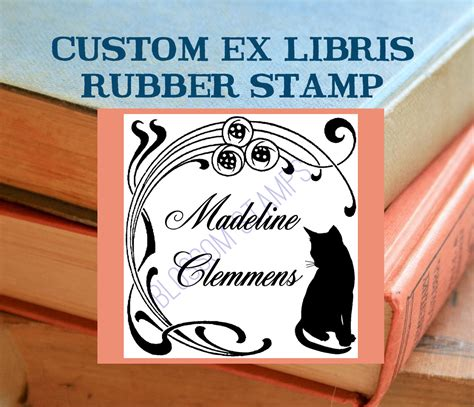 imprinted magic ex libris books custom ex libris bookplate rubber st nouveau cat