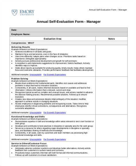 self evaluation 9 free sle exle format free