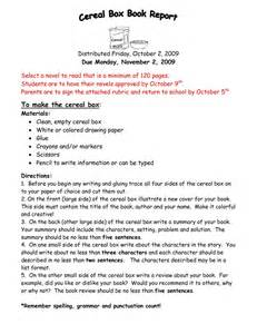 Essay Directions Exle by Doc 16501275 Cereal Box Book Report Template A