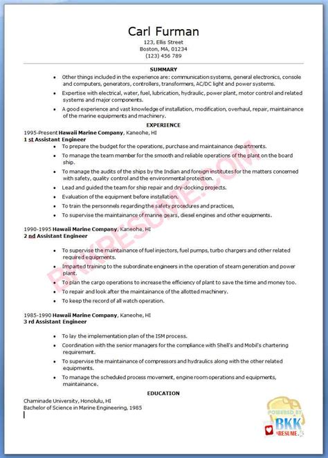 sle of resume letter for marine engineer career objective for marine engineers 28 images electrical engineering resume objective