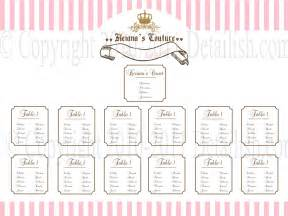 Bridal Shower Seating Chart Template by Printable Couture Inspired Seating By Lillymilliestudio