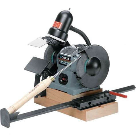 bench grinder sharpening jig oneway wolverine grinding jig rockler woodworking and
