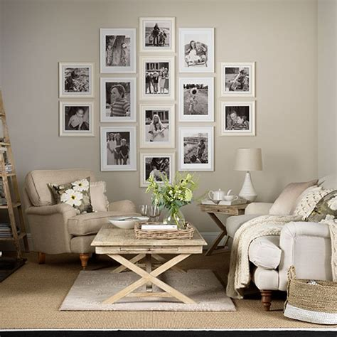living room display neutral living room with photo display decorating housetohome co uk