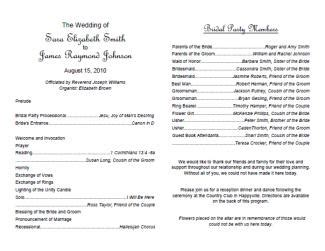 Free Wedding Program Templates Lovetoknow Wedding Bulletin Template
