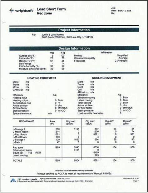hvac design brief report manual j calculation examples