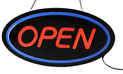 light up open closed sign open sign features quot open quot led signage w hanging chain