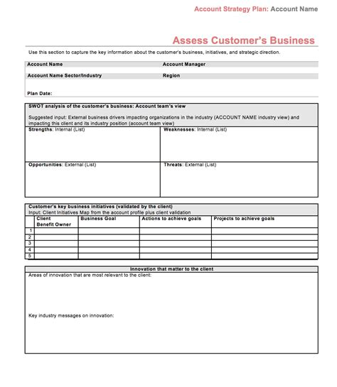 account planning template strategic account plan template at four quadrant