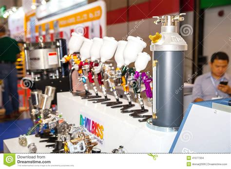 spray paint exhibition spray gun for paint editorial stock image image 41077334