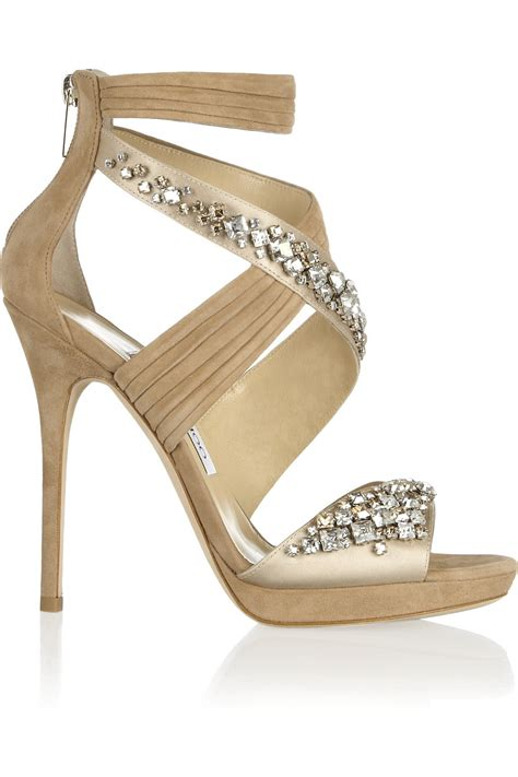 Sandal Fitflop Rockit Sand Swarovsky jimmy choo kani swarovski crystalembellished satin and suede sandals in lyst