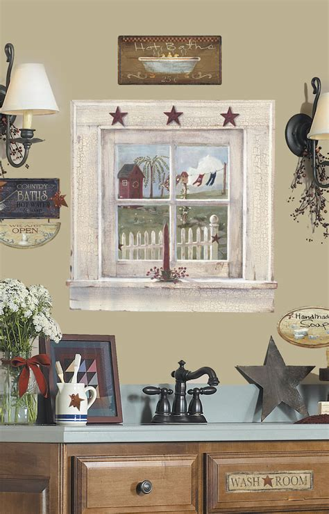 peel and stick wall decor roommates outhouse window and signs peel stick giant