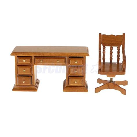 dollhouse office furniture dollhouse miniature office study furniture walnut wooden swivel chair desk ebay