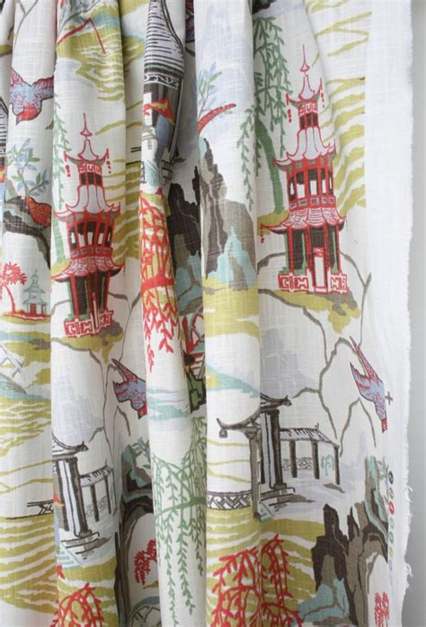 chinoiserie drapes neo toile coral fabric by robert allen my pattern