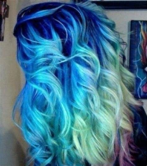 blue fading into light blue fading into sea green hair light blue
