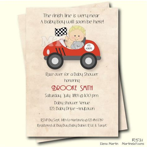 Race Car Themed Baby Shower by Race Car Baby Shower Invitation Retro Style Boy Baby Shower